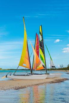 Sailboats on Sandbar