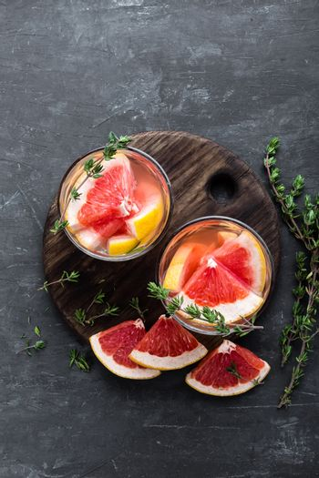 Refreshing drink, grapefruit and thyme cocktail