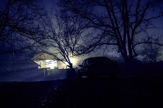 silhouette of car and trees at night forest with fog, surreal lights mystical landscape