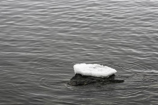 Ice on Top of Rock in Water.
