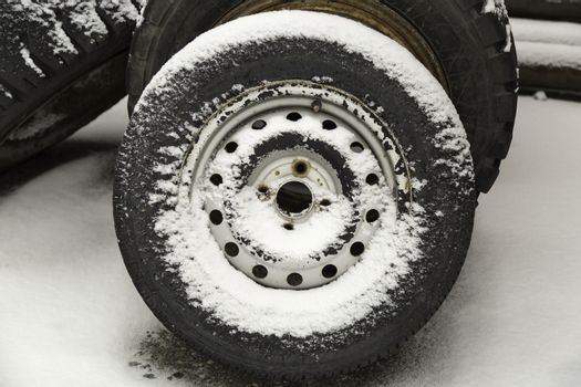 Tire Covered in Snow close up.