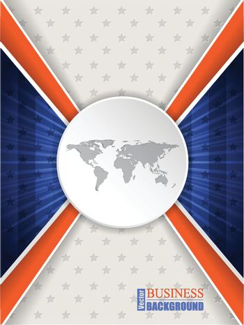 Abstract blue orange brochure design with stripes stars and world map
