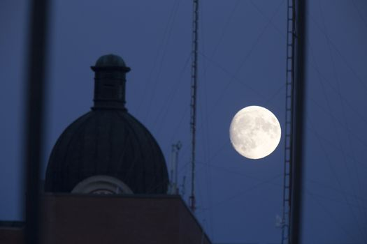 Full Moon and City Hall