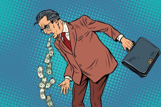 Businessman sick of money