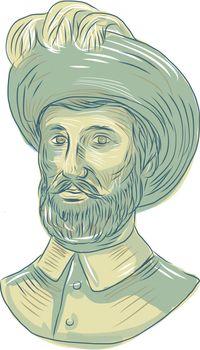 Juan Sebastian Elcano Bust Drawing