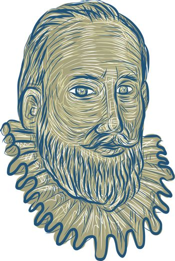 Sir Walter Raleigh Bust Drawing