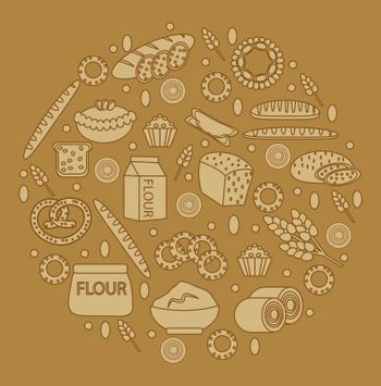 Bakery products round-shape. Vector illustration.