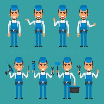 Repairman in various poses