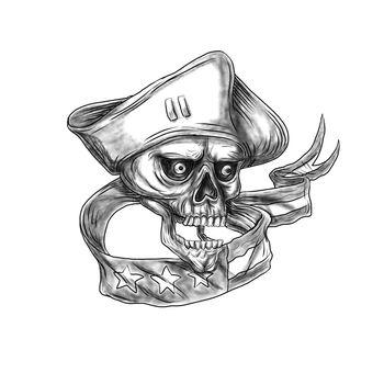 Skull Patriot USA Flag Ribbon Tattoo