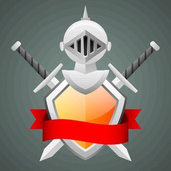 Shield medieval knight helmet crossed swords