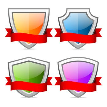 Shields icons with red ribbon