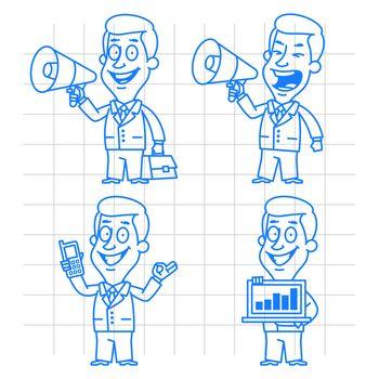 Illustration, doodle businessman communication and technology, format EPS 10