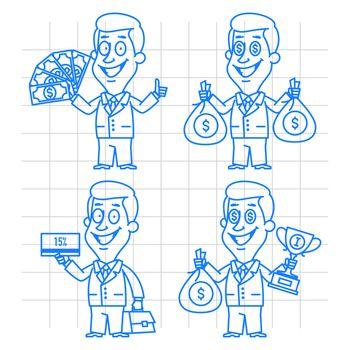 Doodle businessman money and reward