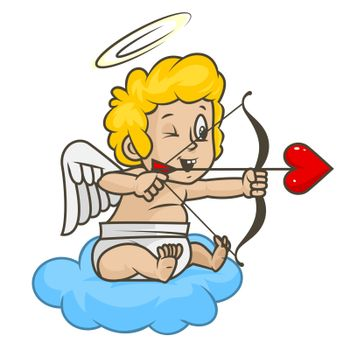 Cupid shoots of bow