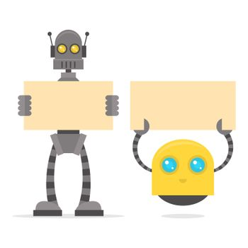 Robots holding blank poster