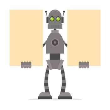 Robot holding blank posters