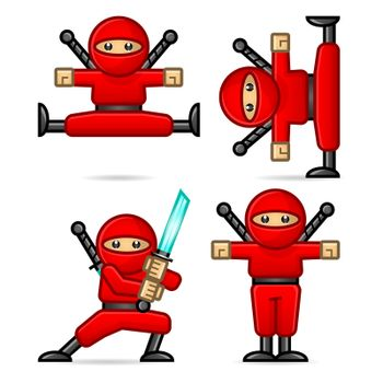 Ninja in different poses
