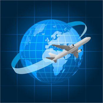 Globe and passenger aircraft