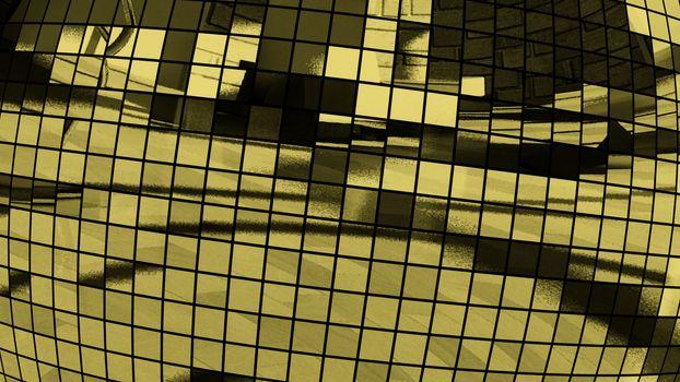 3D Illustration Abstract Figure Golden Disco Ball