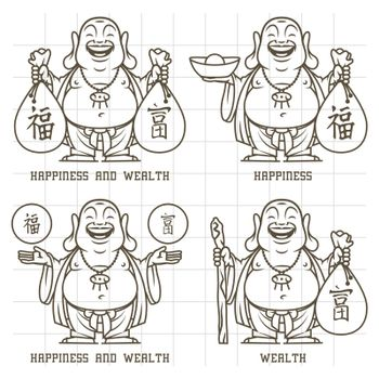 Buddha gives wealth and happiness doodle