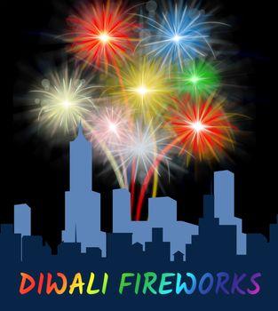 Diwali Fireworks Display Over City Shows Festive Pyrotechnics Celebration