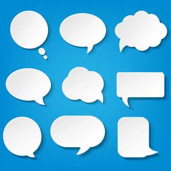 Speech Bubbles Set With Blue Background