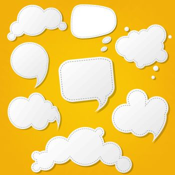 Speech Bubble Set With Yellow Background