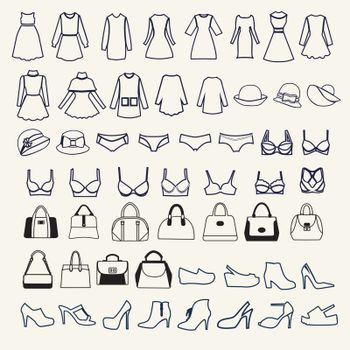 set icons of Female cloth and accessories collectionl  in  outline style