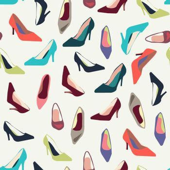 Colorful texture of fashion shoes, fashion  background. Vector illustration