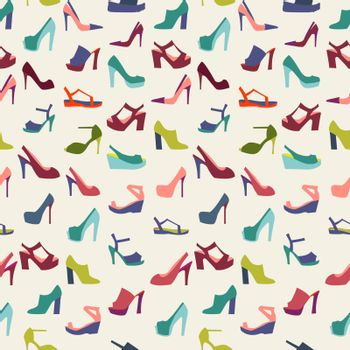 Colorful texture of fashion female shoes, fashion  background. Vector illustration