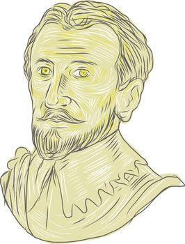 15th Century Spanish Explorer Bust Drawing