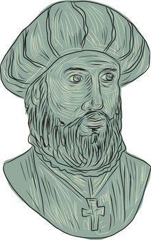 Vasco da Gama Explorer Bust Drawing