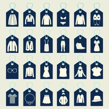 Flat icons set of fashion  and shopping Clothes icons made in tags shape