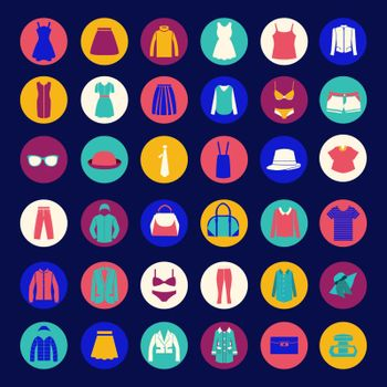 set icons of Fashion cloth and accessories collection shopping and store icons in  Flat style - Illustration
