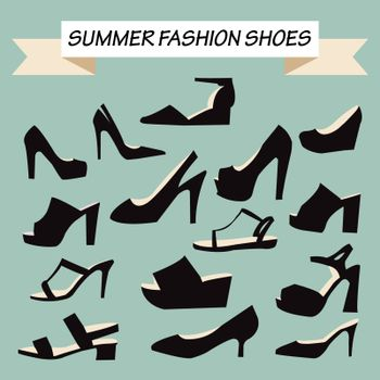 vector file of summer Fashion female Shoes silhouette- illustration