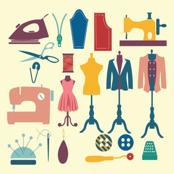 Tailor and sewing icon set Fashion Industry items - Illustration