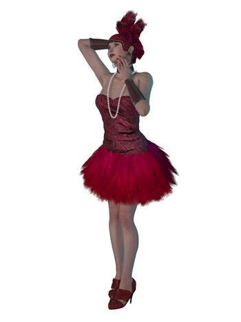 A girl in a red feathered dress as a flapper of the 1920's with pearl jewelry and matching hat.