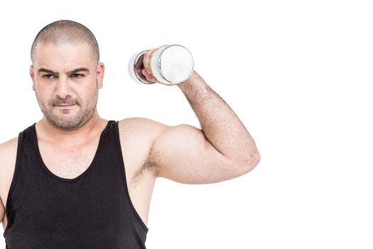 Bodybuilder lifting dumbbell