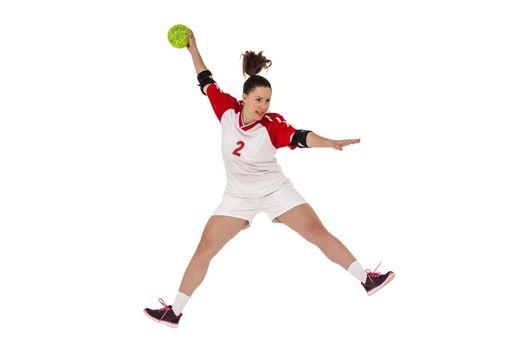 Sportswoman throwing a ball