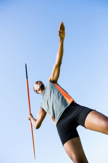 Athlete about to throw a javelin