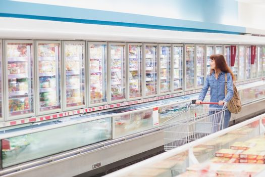 Customer looking for a product in the frozen aisle