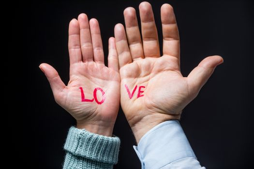 Hands with word love