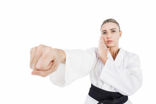 Female athlete practicing judo