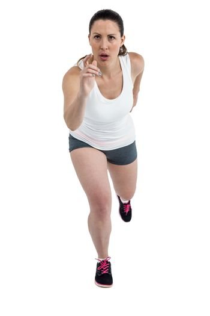Energetic female athlete running
