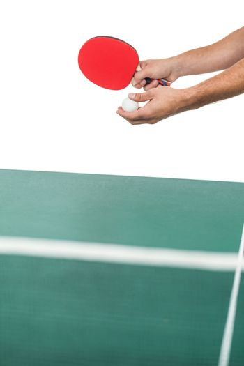 Male athlete playing table tennis