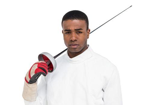 Portrait of swordsman holding sword