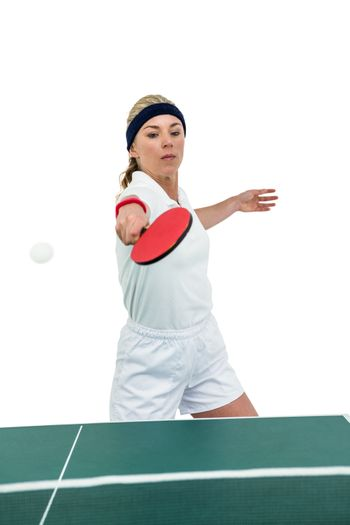 Female athlete playing table tennis