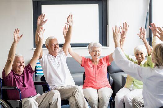 Seniors doing some exercises