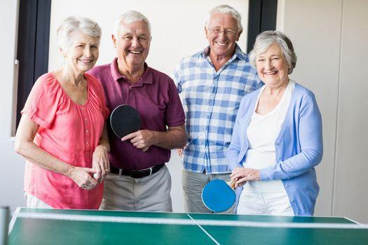 Seniors playing ping-pong
