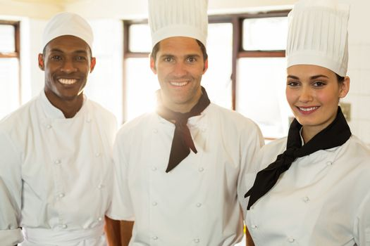Portrait of three chefs standing in commercial kitchen